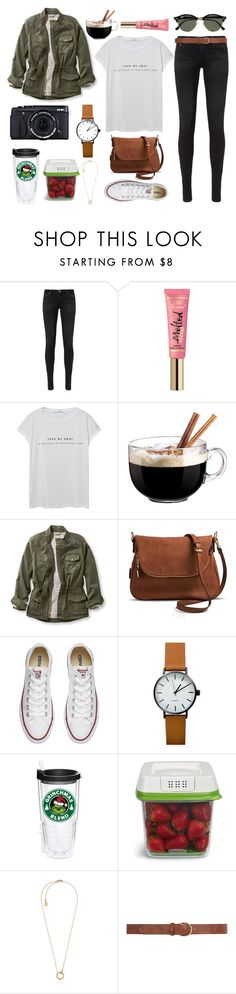 """""""{New Year New Hashtags}"""" by star-lit-fashion ❤ liked on Polyvore featuring AG Adriano Goldschmied, Too Faced Cosmetics, MANGO, Luminarc, L.L.Bean, Moda Luxe, Converse, Fujifilm, Rubbermaid and Michael Kors"""