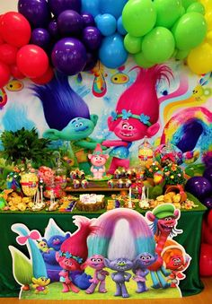 Rochelle M's Birthday / Trolls - Photo Gallery at Catch My Party 2nd Birthday Party For Girl, Trolls Birthday Party, Troll Party, Frozen Birthday Party, 4th Birthday Parties, Birthday Party Decorations Diy, Dessert Table, Poppy Party Ideas, Trolls Cakes