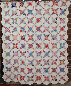 Small Scale 30's Vintage Strip Stars Kaleidoscope Antique Quilt Great Fabrics | eBay