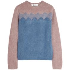 Valentino Color-block knitted sweater ($507) ❤ liked on Polyvore featuring tops, sweaters, valentino, blue, block sweater, loose fit tops, loose sweaters, color-block sweater and cut loose tops