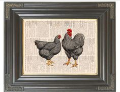 Items similar to BOGO SALE Black white chicken rooster pair printed as dictionary art print on old antique recycled dictionary book page. Item No. 534 on Etsy Rooster Kitchen Decor, Rooster Decor, French Country Decorating, Country French, Chicken Art, White Chicken, Chicken Pictures, Red Rooster, Chickens And Roosters