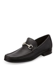 Magnifico Pebbled Leather Loafer, Black  by Salvatore Ferragamo at Neiman Marcus.