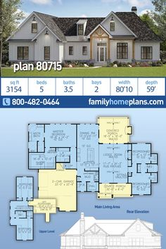 A 5 bedroom family house plan with baths and an open floor plan. Two story traditional farmhouse style home design with a large covered rear porch and outdoor fireplace. Popular floor plan has con 6 Bedroom House Plans, Garage House Plans, Family House Plans, House Floor Plans, Family Houses, Car Garage, Farmhouse Homes, Farmhouse Plans, Country Farmhouse