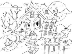 Unique Spooky House Coloring Pages Motif - Coloring Page Ideas House Drawing For Kids, Haunted House Drawing, Haunted House For Kids, Scary Haunted House, Spooky House, Halloween Haunted Houses, Halloween Coloring Pictures, Free Halloween Coloring Pages, Halloween Drawings