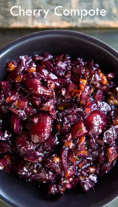 Savory Cherry Compote by Simply Recipes -- would be great with Pork Tenderloin, Chicken, or Steak Cherry Compote, Fruit Compote, Cherry Chutney Recipes, Cherry Recipes Savory, Fruit Recipes, Cherry Chicken Recipe, Cherry Recipes Dinner, Recipies, Marmalade