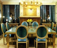 Decoration, Beautiful Minimalist Dining Room With Metal Interiors And Gold Art Deco Furniture Using Antique Golden Chandelier Above Dining T. Dining Room Blue, Elegant Dining Room, Luxury Dining Room, Dining Room Design, Dining Chairs, Room Chairs, Blue Chairs, Dining Area, Gold Interior