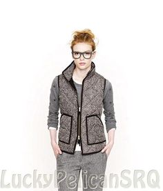 J Crew Herringbone Excursion Vest Quilted Down Puffer