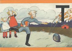 Martta Wendelin 61258 | par marja2006-offers Alphabet, Elsa Beskow, Art Deco Illustration, Books For Moms, Black And White Pictures, Vintage Children, Vintage Postcards, Martini, Vintage Art