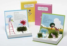 Picture books with a plant inside. Teach kids about nature without ever leaving the house with Green Story Plant Growing Books. Inside each of five different books is a pair of cutouts where kids can plant some basic plants right in the book. Now books really come alive. I guess you can't close the books once you plant the seeds? X