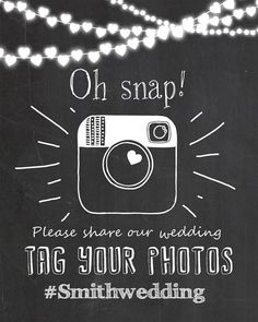 Social media wedding sign - Instagram wedding sign - Chalkboard instagram sign - Printable - Chalkboard hashtag sign - JPG - PDF on Etsy, $10.00 Add Facebook, wedding party app #stormthecastle