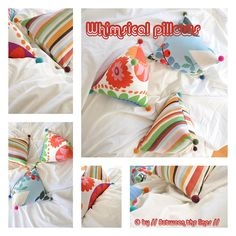 Whimsical pillows  tutorial : http://pm-betweenthelines.blogspot.nl/2010/12/diy-gift-ideas-4-whimsical-pillows.html