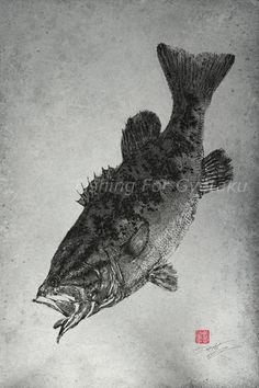 LARGEMOUTH BASS GYOTAKU print traditional by FishingForGyotaku