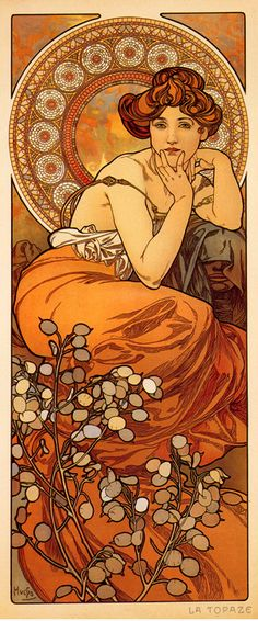 I love Mucha's clean, ebbing lines. I love how each piece has its own soul. I love how each piece showcases a different plant or flower.