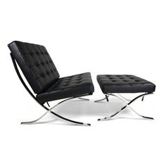 Ariel- Rohe Style Classic Designer Barcelona Chair with Ottoman in Black Top Grain Leather Ludwig Mies Van Der Rohe, Lounge Chair Design, Accent Chairs For Living Room, Barrel Chair, Barcelona Chair, Chair And Ottoman, Modern Chairs, Relax, Side Chairs