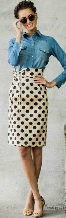 Spring / Summer - business casual - work outfit - chambray shirt + polka dot white pencil skirt + nude stilettos