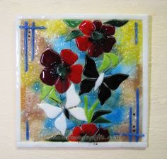 Spray of blossom fusing glass picture