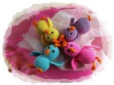 "Crochet easter items | Crocheted Easter Chicks, Decorations for Easter Basket, 6"" ... 