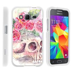 Galaxy Core Prime Case SNAP SHELL Slim White Snap On Case Protector - Flower Skull