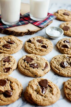 Salted Almond Butter Chocolate Chip Cookies by @cindyr