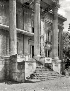 The abandoned Belle Grove mansion in White Castle, LA. These photos were taken in 1938, years after its abandonment. When it was built in 1857 it was the largest mansion in the south and comprised of more than 75 rooms. It has since burned to the ground.  Elephant in Tiger Skin: Old Photos of New Orleans (& LA)
