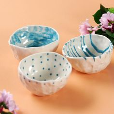 Pinch Bowls - Hobbies paining body for kids and adult Ceramic Pinch Pots, Ceramic Flower Pots, Ceramic Clay, Ceramic Painting, Ceramic Pottery, Slab Pottery, Pottery Painting, Polymer Clay Crafts, Diy Clay