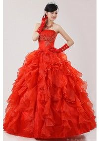 Unique Ball Gown Strapless Embroidery Flouncing Red Quinceanera Dress