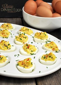 A Classic Deviled Egg Recipe. My Tom loves deviled eggs.