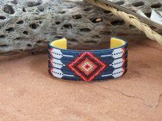Native American Beaded Feather Blue Diamond Bracelet 1