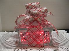 Red & Silver Plaid on clear glass block with by Originalsbysuej, $20.00