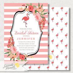 Flamingo Party Invitation  Bridal Shower  by LemonadeMoments