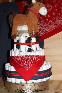 Cowboy baby shower diaper cake!