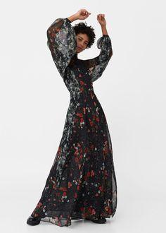Длинное струящееся платье | MANGO МАНГО