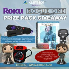 "31 days left I entered @AlertBot's contest to win a @RokuPlayer Stick + @STARWARS ""Rogue One"" Prize Pack! http://win.alertbot.com #RogueOne"