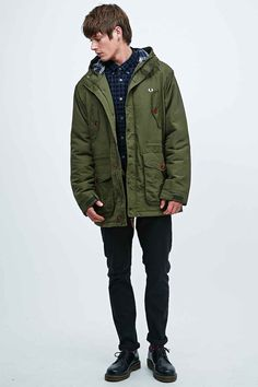Fred Perry Wadded Mountain Parka in Green