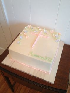 First communion girls cake smooth buttercream and fondant and gum paste decorations