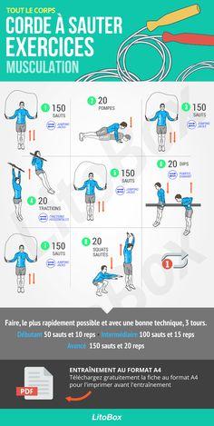 Corde à sauter + exercices de musculation au poids du corps
