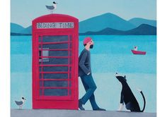 Telephone box with man and dog blank art card Sand Crafts, Seashell Crafts, Online Greeting Cards, Man And Dog, Collie Dog, First Art, Naive Art, Box Art, Beautiful Paintings