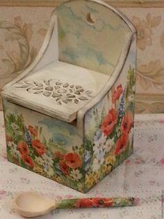 """Купить Короб для кухни(солонка) """"Полевые цветы"""" - солонка, солонка деревянная, солонка из дерева, короб для хранения"""