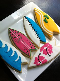 Surf Board luau beach decorated Cookies 1 by thetalentedcookie, $42.00