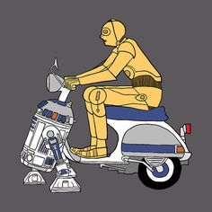C3P0 riding R2D2 power assisted Vespa #starwars