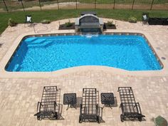 awesome small inground pools for small yards with simple sunbed and double chairs design