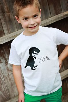 DIY Dino Feed Me Graphic Tee made with Cricut Explore -- One Sweet Appetite. #DesignSpaceStar Round 2