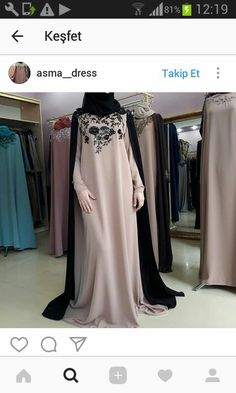 No automatic alt text available. Islamic Fashion, Muslim Fashion, Modest Fashion, Fashion Dresses, Kaftan Designs, Mode Abaya, Hijab Trends, Eid Outfits, Hijab Style