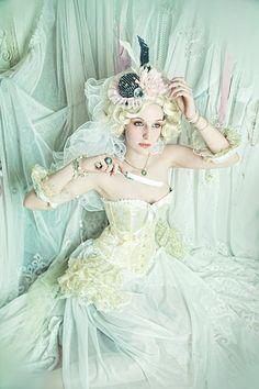 Fantasy Fashion on Model Hair Styling Corsage Make Up Myselfremaining Styling Marie Antoinette, Boudoir, Steampunk, Rococo Fashion, Fairytale Fashion, Glamour, Cosplay, Big Hair, Retro