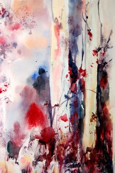 Red Splash  Original Watercolour Abstract Painting by CanotStop, $98.00