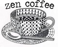 Zen Coffee - zentangle coffee theme patterning project - royce-acreativeli...Zentangle - doodle - doodling - black and white zentangle patterns. zentangle inspired - #zentangle #doodling #zentangle patterns