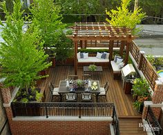 Accessible from the home's kitchen, this garage-top roof deck was designed with entertaining in mind. A dining table seats six with ease, while a built-in grill and cabinets for storing table-serv Roof Terrace Design, Rooftop Design, Balcony Design, Patio Design, House Design, Pergola Designs, Backyard Patio, Backyard Landscaping, Patio Grill
