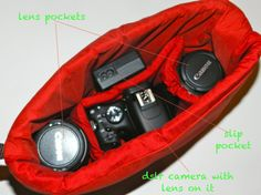 Lipstick Red...Camera Bag Insert 4 your purse or backpack and photography equipment - by Darby Mack Designs via Etsy