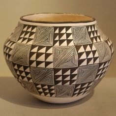 Pueblo:  Acoma  Artist:  Rose Chino Garcia   Date Created:  Dimensions:  5 1/4 in H by 7 1/4 in Dia   Item Number:  lwacc0080  Price:  $ 1950 Description:  Daughter of Marie Z - Black and white fine line and geometric design