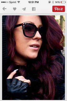 Reddish purple Hair color